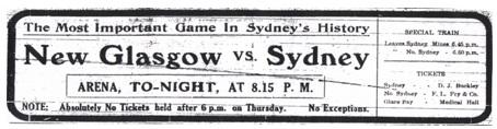 1914 MPHA Championship ad New Glasgow Black Foxes vs Sydney Millionaires
