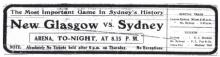 1914 MPHA Championship ad New Glasgow Black Foxes vs Sydney Millionaires
